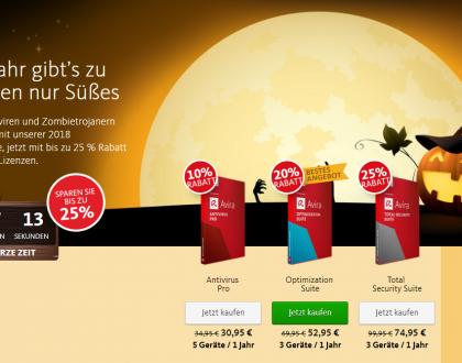 25% HALLOWEEN RABATT AUF AVIRA PRODUKTE