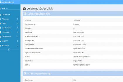 Neue Webhosting-Tarifoberfläche (pd-admin)